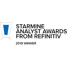 Logo of Starmine Analyst Awards from Refinitiv, 2019 Winner